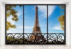 Fototapeta do salonu - Tour Eiffel Paris France (window) - 366x254 cm