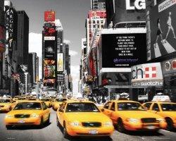 New York Times Square Żółte Taksówki - plakat