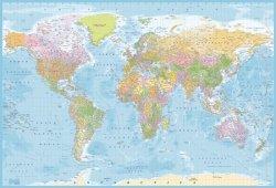 Fototapeta na ścianę - Mapa Świata Polityczna - 232x158cm