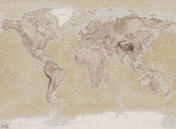 Fototapeta na ścianę - Mapa Świata Vintage Light - 315x232cm