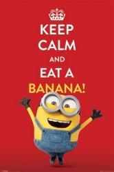 Minionki Keep Calm and eat a banana - plakat