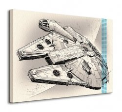 Star Wars Episode VII (Millennium Falcon Pencil Art) - obraz na płótnie