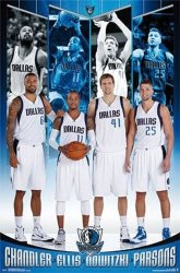 Dallas Mavericks - Chandler, Ellis, Nowitzki, Parsons - plakat