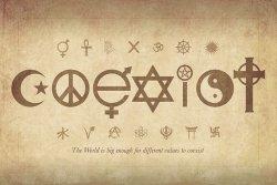 Coexist - plakat z napisami