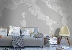 Fototapeta - Mapa Włoch w odcieniach szarości