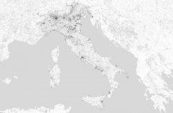 Fototapeta - Mapa - Włoch - Czarno-biała