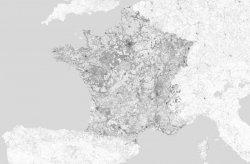 Fototapeta - Mapa Czarno-Biała - Francja