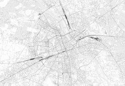 Fototapeta ścienna - Mapa - Warszawa w odcieniach szarości
