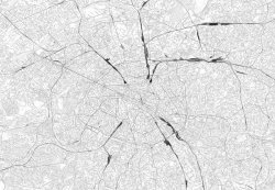 Mapa Paryża - Fototapeta Ścienna - w odcieniach szarości