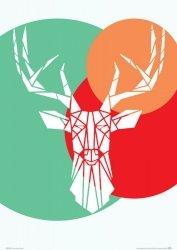 Deer white - plakat A3