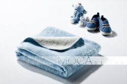 Kocyk dla dziecka - Błękitno - Kremowy - 75x100 cm