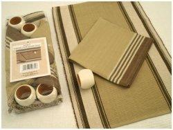 Podkładki na stół + Serwetki + Obrączki na serwetki x 4-szt - Brązowo-beżowe