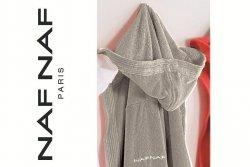 Szlafrok - Srebrny - 100% Bawełna - S - NAF NAF