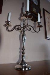 Świecznik metalowy - x5 - Mosiądz niklowany 50cm