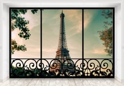 Fototapeta na ścianę - Tour Eiffel Paris France (window) - 366x254 cm