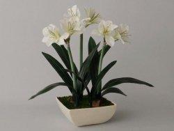 Sztuczny Amarylis - Biały - W doniczce - 45x75cm