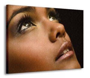 Obraz do salonu - Brązowy portret Kobiety - 120x90 cm
