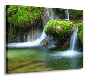 Wodospad w lesie - Obraz na płótnie