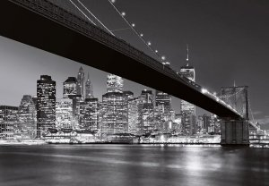 Fototapeta do salonu - Nowy Jork - Brooklyn Bridge BW - 366x254cm