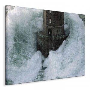 Obraz na płótnie - Latarnia Morksa - Phares Dans La Tempte, La Jument - 40x50 cm