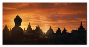 Obraz na płótnie - Golden Silhouette, Indonesia - 100x50 cm