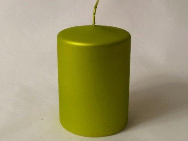 Świeca ozdobna - Zielona - Walec - 7x10cm