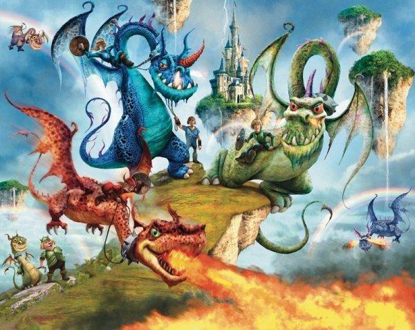 Fototapeta dla dzieci - Knights Dragons - 3D - Walltastic