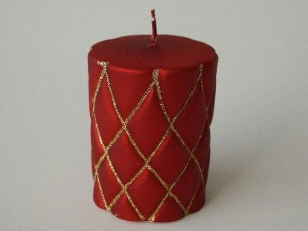 Świeca ozdobna - Czerwona walec - 8x10cm