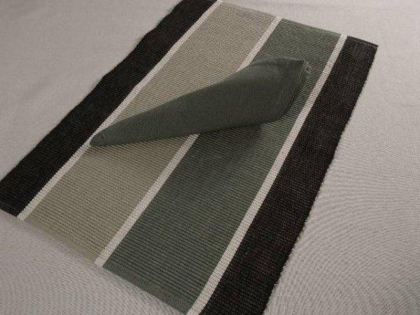 Podkładki na stół + Serwetki x 6-szt - Czarno-Szare pasy