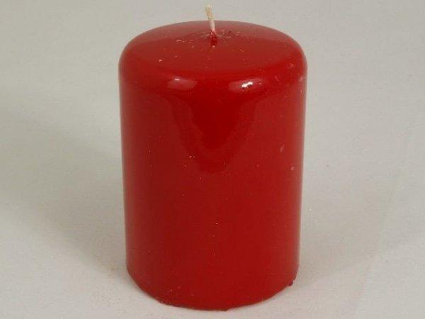 Świeca ozdobna - Czerwień walec - 7x10cm
