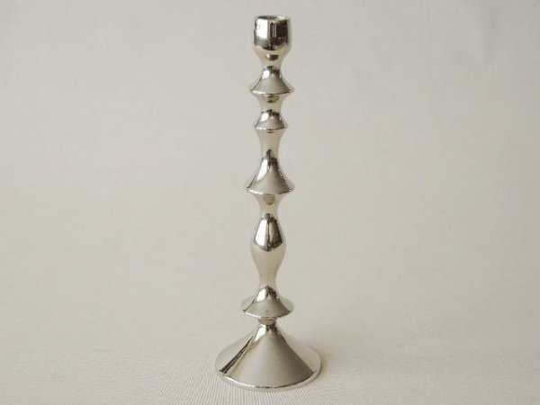 Świecznik - 9x29,5cm - Mosiądz niklowany