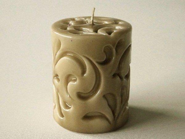 Świeca ozdobna - Brąz walec - 8x10cm