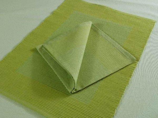 Podkładki na stół + Serwetki x 6-szt  - Oliwkowo-Limonkowe 100 % Bawełna