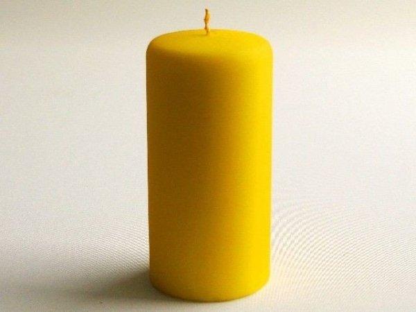 Świeca ozdobna - Żółta velvet - 7x15cm