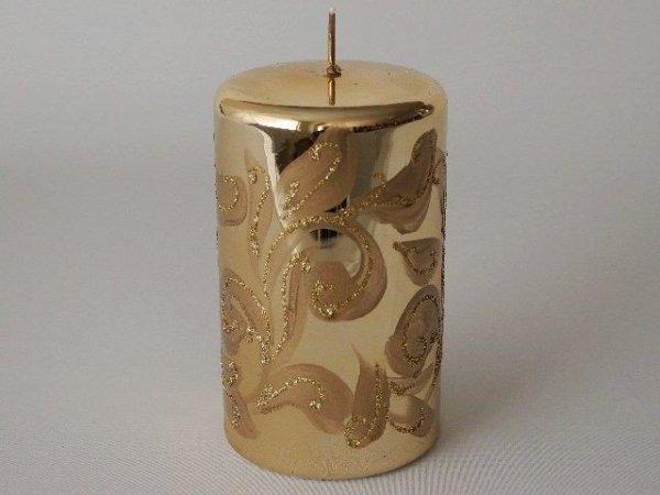 Świeca ozdobna - Brokatowy motyw - 9x15cm