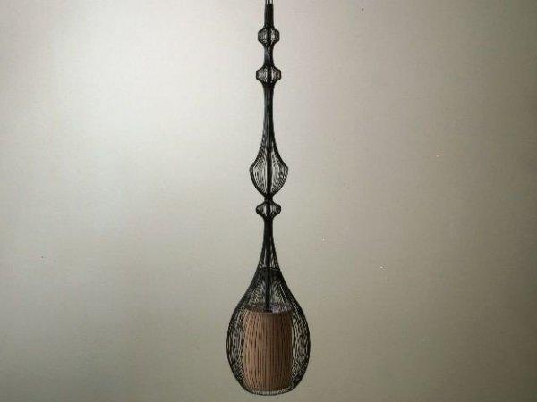 Lampa wisząca - Czarny Ażur - 20x92cm