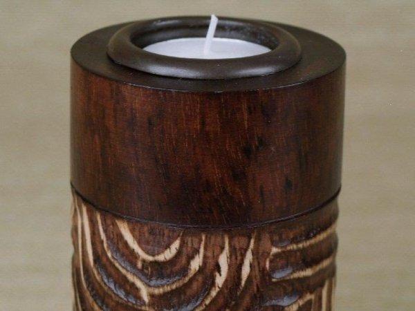 Świecznik - Wzór - Drewniany - 8x15cm