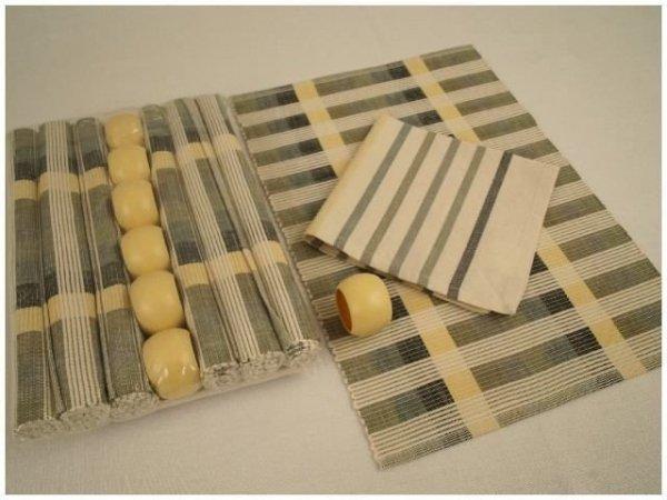 Podkładki na stół + Serwetki + Obrączki na serwetki x 6-szt - Paski beż