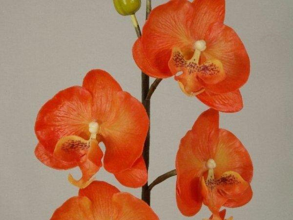 Sztuczny storczyk - Pomarańczowy - W doniczce - 28x50cm
