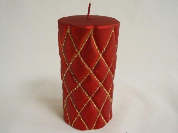 Świeca ozdobna - Czerwona - 8x15cm