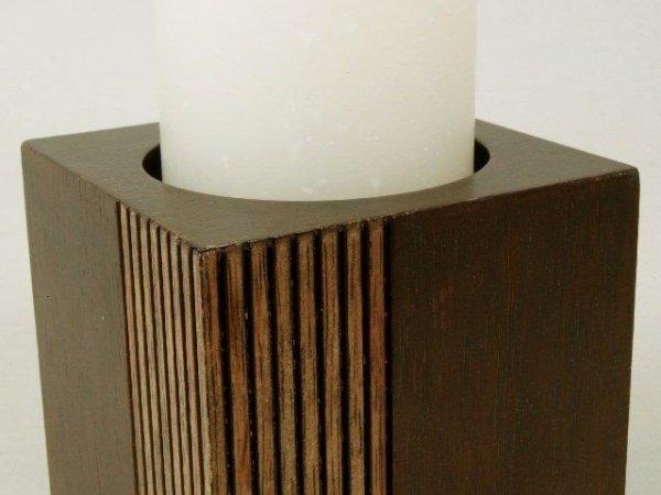 Świecznik - Kwadrat - Drewniany - 10x10x10cm