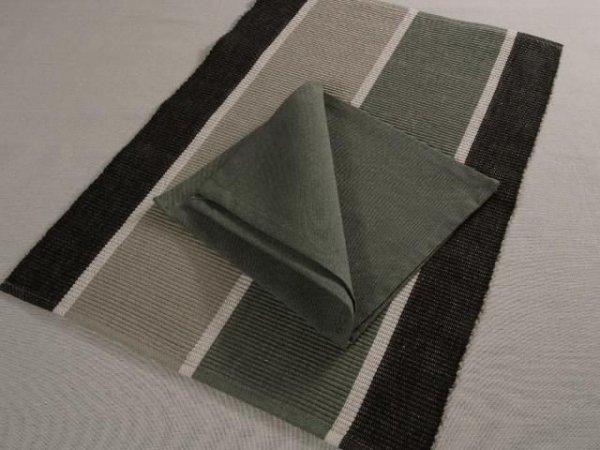 Podkładki na stół + Serwetki x 6-szt - Szaro-Czarne 100 % Bawełna