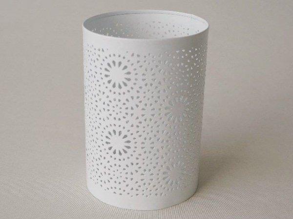 Świecznik - Biały - Metalowy - 10,5x15cm