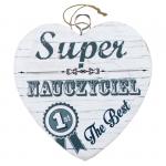 Drewniana tabliczka w kształcie serca z napisem 'Super Nauczyciel. The Best''.Wzór 01. Rozmiar 7 cm