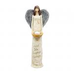 Anioł wykonany z gipsu, kolor kremowy, granatowe skrzydła, wysokość 40 cm.