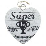 Drewniana tabliczka w kształcie serca z napisem 'Super Nauczyciel. 1st' Wzór 17. Rozmiar 4 cm