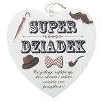 Drewniana tabliczka w kształcie serce z napisem 'Super Dziadek' Wzór 42. Rozmiar 7cm