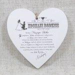 Drewniana tabliczka w kształcie serce z napisem 'Kochani Rodzice w dniu naszego ślubu...'. Wzór 23. Rozmiar 25 cm