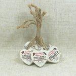 Komplet 10 drewnianych tabliczek w kształcie serca z napisem Dla Mojego Najukochańszego Dziadka, 5 cm