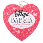 Drewniana tabliczka w kształcie serce z napisem 'Moja Babcia Jest Najlepsza' . Wzór 50. Rozmiar 7cm